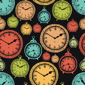 Vintage wall clocks and alarm clocks, seamless background — 图库矢量图片