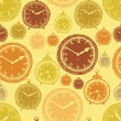 Vintage wall clocks and alarm clocks, seamless gold background — Stockvector