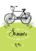 Bicicleta vintage. cartão do projeto com vinheta e caligrafia — Vetor de Stock