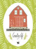 Country life design card — Stock Vector