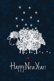 šťastný nový rok návrhu karta s ovcí a sníh — Stock vektor