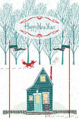 Happy New year design card with a house in the winter forest — Stock Vector