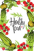 Healthy food design frame with vegetables — Stock Vector