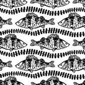 Fish in the algae  seamless pattern — Stock Vector