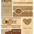 Set of coffee business cards — Stock Vector
