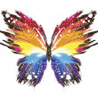Grunge rainbow butterfly — Stock Vector