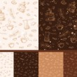 Set of coffee patterns (seamless pattern) — Stockvector