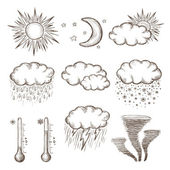 Hand drawn weather icons — Stock Vector