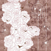 Vintage romantic background (seamless pattern) — Stock Vector