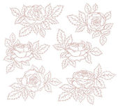 Set of decorative roses — Vector de stock