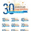Stock Vector: Happy anniversary labels.