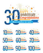 Happy anniversary labels. — Stock Vector