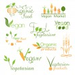 Set of vegan food logo — Stock Vector