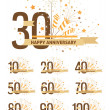Set of happy anniversary design elements — Stock Vector