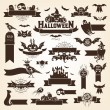 Set of halloween design elements. Monochrome version — Stock Vector
