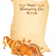 Stock Vector: Thanksgiving day scroll with cornucopia