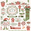 Set of christmas decorative elements (color) — Stockvectorbeeld