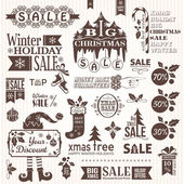 Set of christmas decorative elements (monochrome) — Vetorial Stock