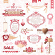 Set of Valentines Day design elements (color version) — Imagen vectorial
