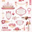 Set of Valentines Day design elements (color version) — Stock Vector