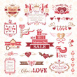 Stock Vector: Set of Valentines Day design elements (color version)