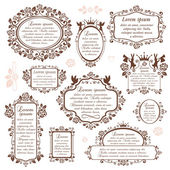Set of ornamental romantic frames — Stock Vector