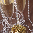 Christmas champagne and gift box - Stock Photo