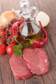 Raw meat and ingredients — Stock Photo