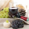 Composition with wine,grape and cheese — Stock Photo