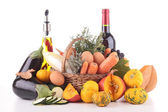 Vegetable,fruit,olive oil and wine — Stock Photo