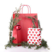 Shopping bag and christmas decoration — Stock Photo