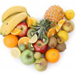 Stock Photo: Assortment of fruits,heart