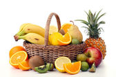 Wicker basket with fruits — Foto de Stock