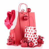 Christmas shopping bag and decoration — Stock Photo