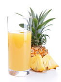 Pineapple juice isolated on white — Stock Photo