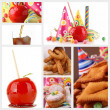 Collection of image with toffee apple and carnival pastry — Stock Photo