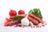 Raw sausage and ingredient — Stock Photo