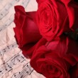 Red rose on score — Stock Photo