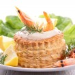Puff pastry with shrimp - Stock Photo