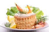 Puff pastry with shrimp — Stock Photo