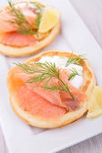 Bread with smoked salmon — Stock Photo