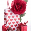 Valentine gift and chocolates — Stock Photo