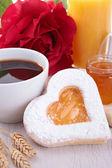 Valentine's day breakfast — Stock Photo