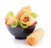 Isolated spring roll and lettuce — Stock Photo