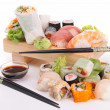 Stock Photo: Assortment of sushi and maki