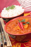 Chicken cooked with red curry — Stock Photo