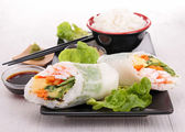 Japanese sushi roll and rice — Stock Photo