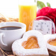 Valentine breakfast — Stock Photo