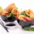 Isolated bowl of spring roll — Stock Photo