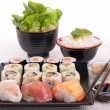 Stock Photo: Assortment of sushi maki roll